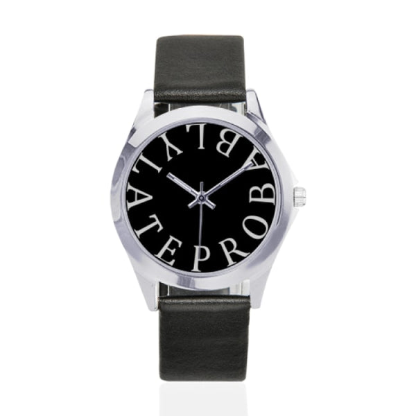 probably late black faux leather strap watch - Black - Watch