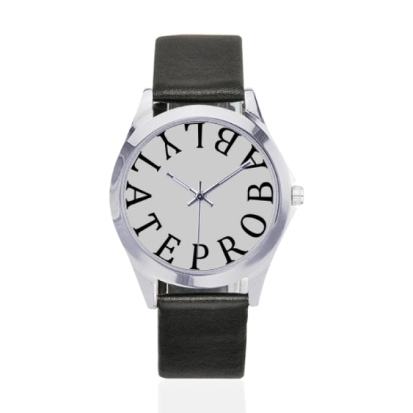 probably late black faux leather strap watch - White - Watch