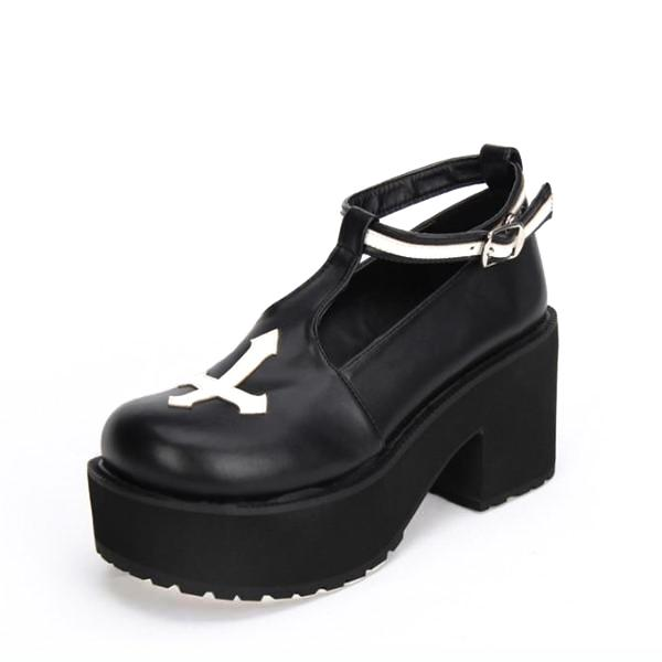Gothic Cross Buckle Strap Platform Creepers - Creepers