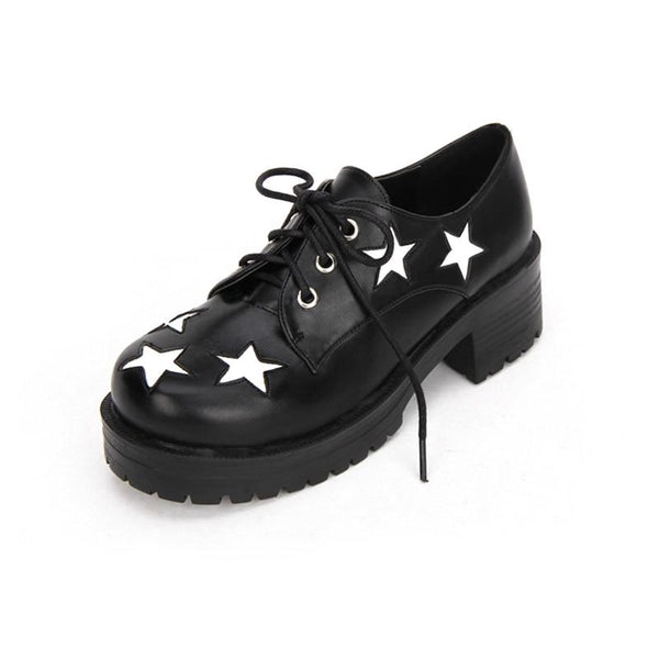 star applique chunky platform oxfords