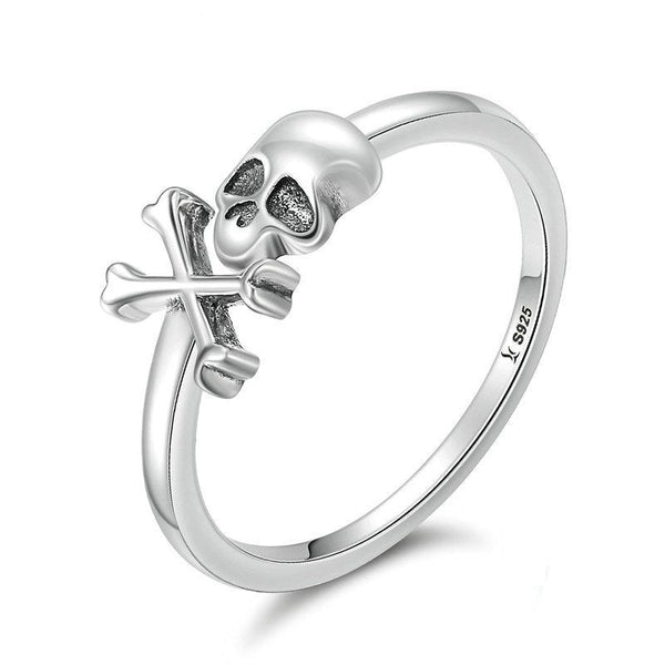 Skull And Crossbones Dainty Stackable Ring - Silver / 6 - Ring