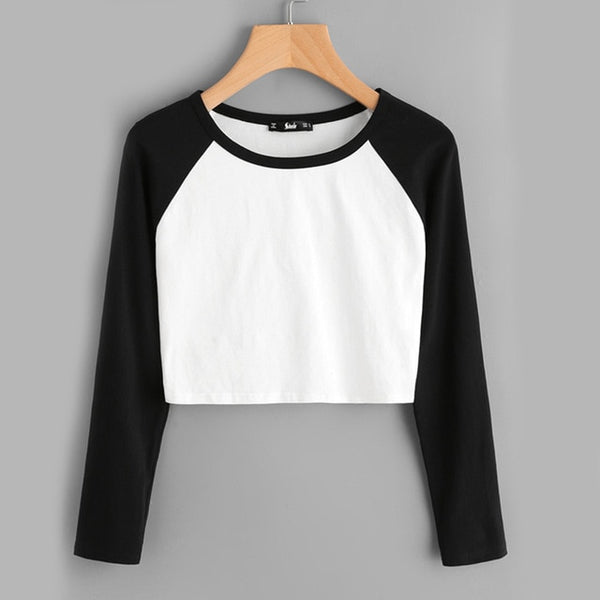 black and white raglan long sleeve crop top