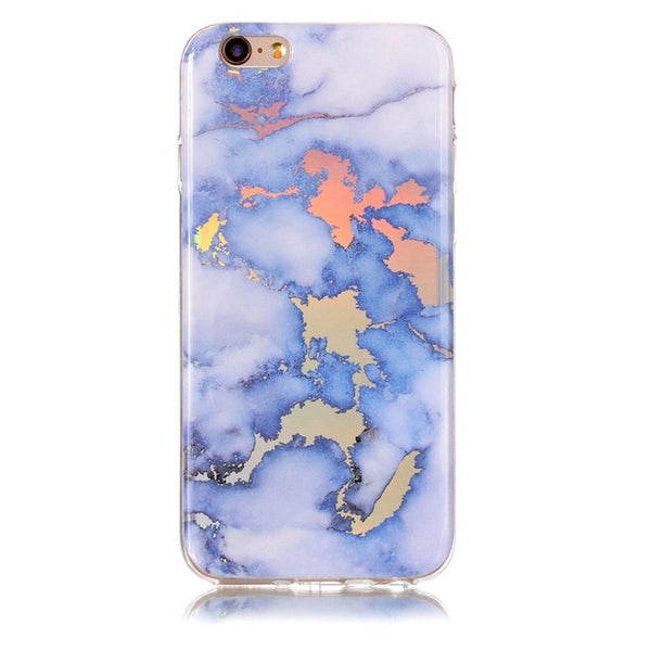 Holographic Marble Soft Silicone Phone Case (Iphone) - Blue / For Iphone 6 6S - Iphone Case