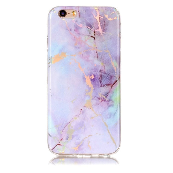 Holographic Marble Soft Silicone Phone Case (Iphone) - Purple / For Iphone 6 6S - Iphone Case