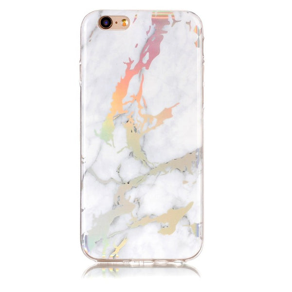 Holographic Marble Soft Silicone Phone Case (Iphone) - White / For Iphone 6 6S - Iphone Case