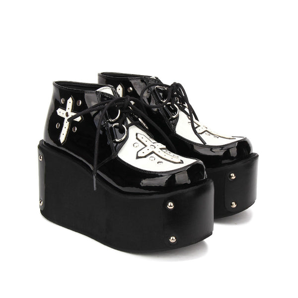 Studded Gothic Cross Lace-Up Ultra Platform Creepers - Creepers