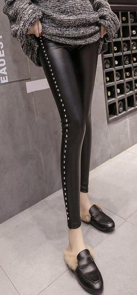 Studded Side Stripe Faux Leather Leggings - Leggings