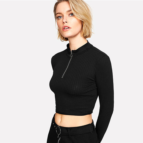 Mock Neck Ring Zip Long Sleeve Crop Top - Black / Xs - Long Sleeve Crop Top