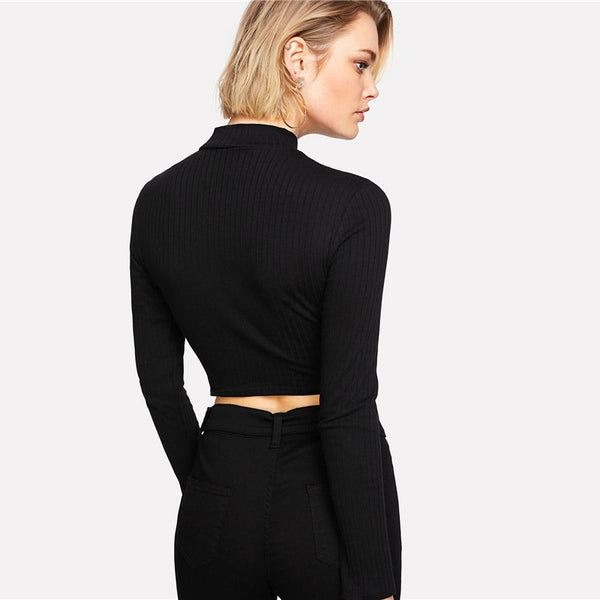 Mock Neck Ring Zip Long Sleeve Crop Top - Long Sleeve Crop Top