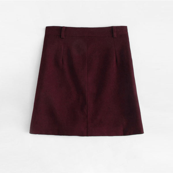 Burgundy Button Up Pocketed A-Line Mini Skirt - Skirt
