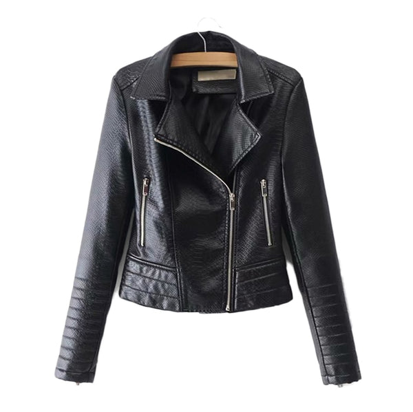 Ribbed Panel Faux Croc Leather Moto Jacket - Leather Jacket