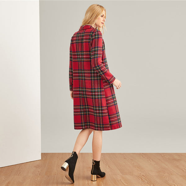 Red Plaid Double Breasted Longline Overcoat - Coat