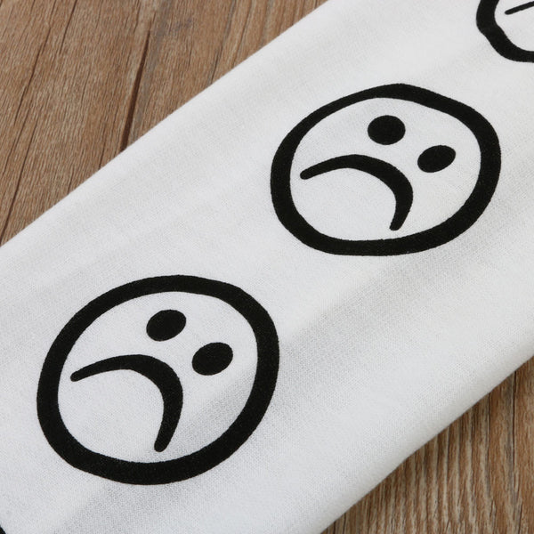 Sad Face Emoticon Sleeve Printed Pullover Sweatshirt - Sweatshirt