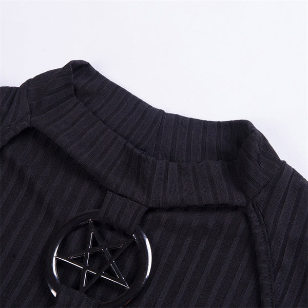 Inverted Pentagram Choker Neck Ribbed Knit Long Sleeve Shirt - Long Sleeve Crop Top