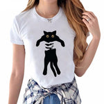Black Panic Cat Silhouette Womens Tee - White / Long Cat / S - Womens Tee