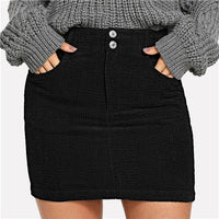 Corduroy Pocketed Fitted Mini Skirt - Black / Xs - Skirt