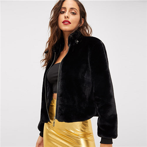 Short Black Faux Fur Zip Up Coat - Black / S - Coat
