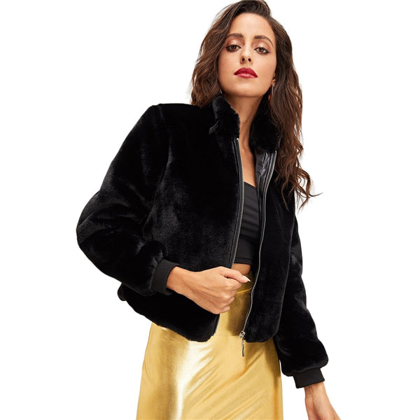 Short Black Faux Fur Zip Up Coat - Coat