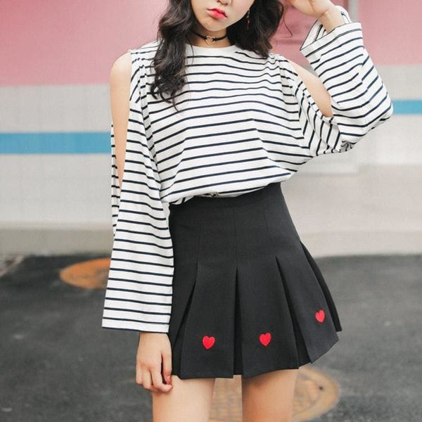 Queen Of Hearts High Waist Pleated Mini Skirt - Skirt