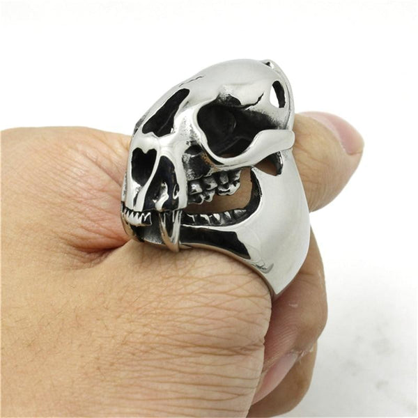 raccoon skull stainless steel ring - Ring