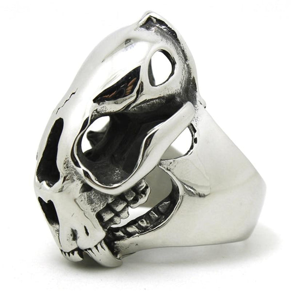 raccoon skull stainless steel ring - 8 - Ring