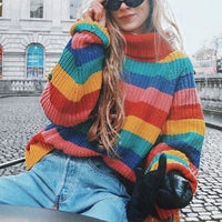 Rainbow Stripe Oversized Turtleneck Sweater - Sweater