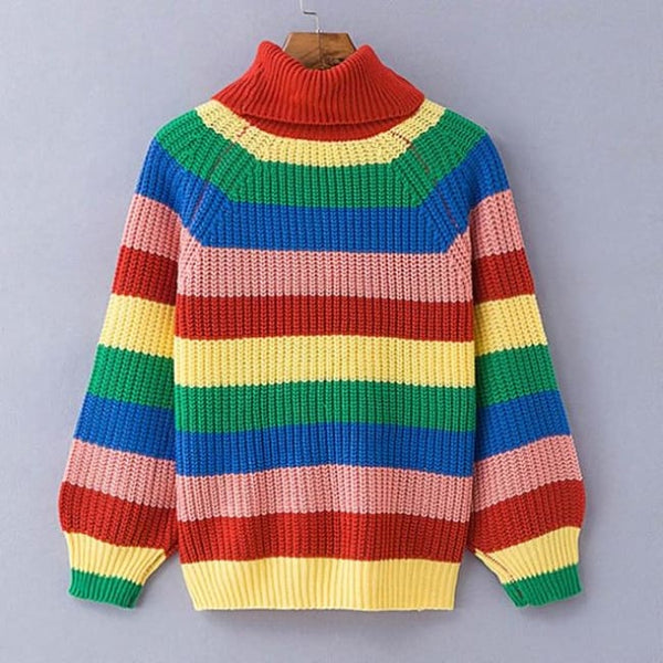 Rainbow Stripe Oversized Turtleneck Sweater - Rainbow / S - Sweater
