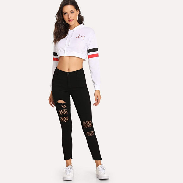 Raw Edge Fishnet Inlay Ripped Skinny Jeans - Pants