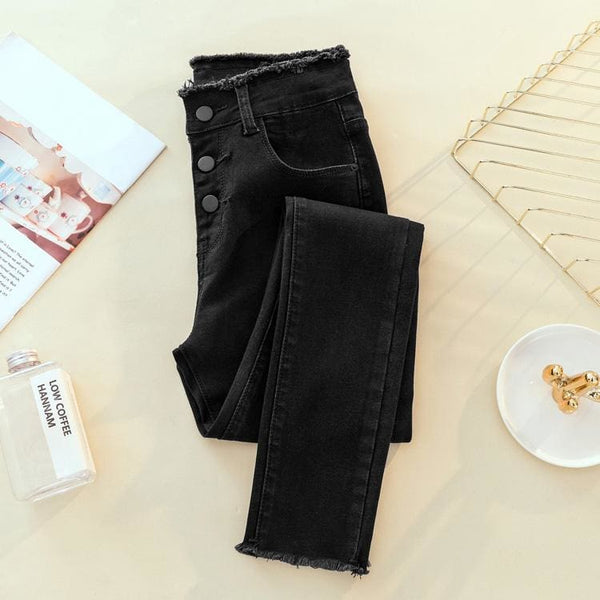 Raw Edge High Waist Button Fly Skinny Jeans - Black / S - Pants