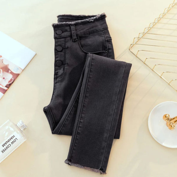 Raw Edge High Waist Button Fly Skinny Jeans - Dark Gray / S - Pants