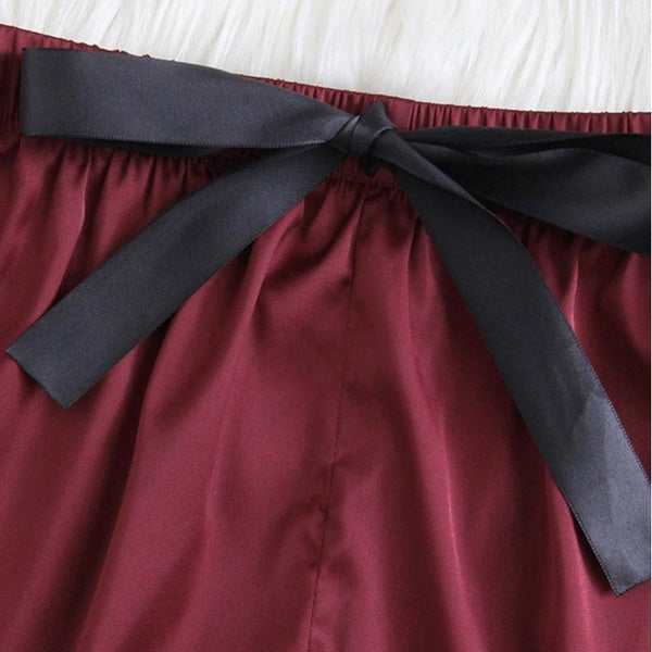 red and black lacy satin sleepwear set - Sleepwear