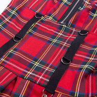 Red Plaid Suspender Strap Mini Dress - Dress