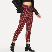 red plaid zipper front pants - Pants