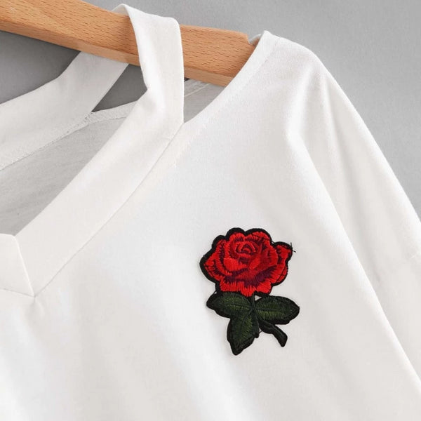 red rose embroidered patch cut-out crop sweatshirt - Crop Sweatshirt