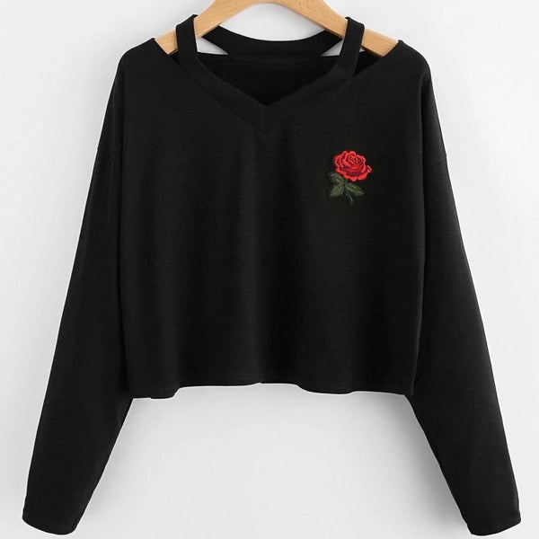 red rose embroidered patch cut-out crop sweatshirt - Black / S - Crop Sweatshirt