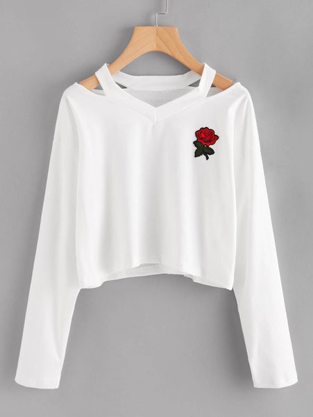 red rose embroidered patch cut-out crop sweatshirt - White / S - Crop Sweatshirt