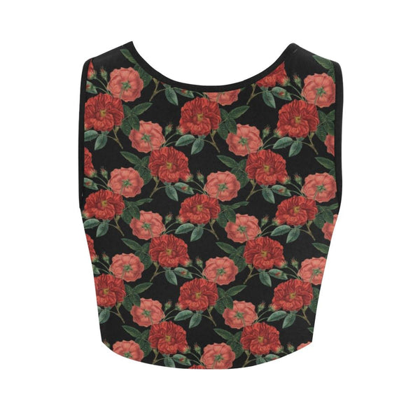 red roses crop tank top - Crop Top
