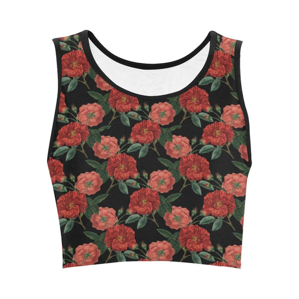 red roses crop tank top - Red / XS - Crop Top