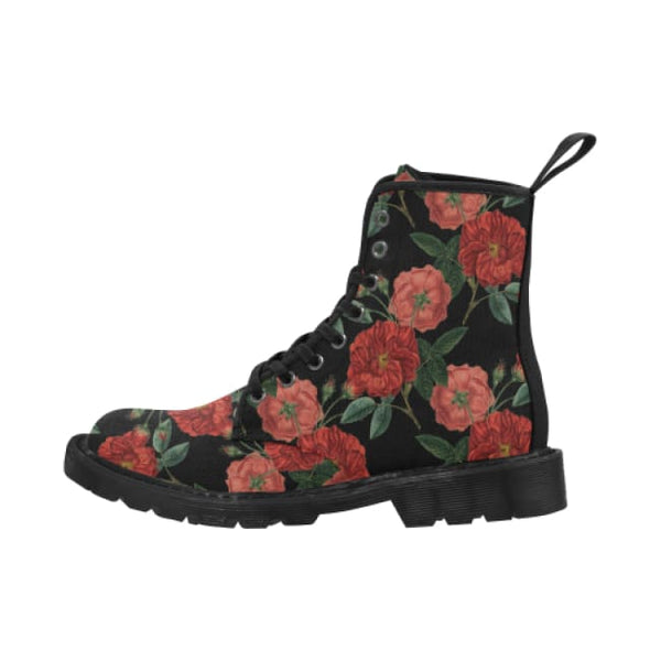 Red Roses Mens Lace-Up Combat Boots - Boots