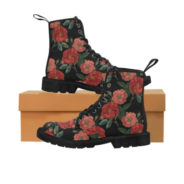 Red Roses Womens Lace-Up Combat Boots - Boots