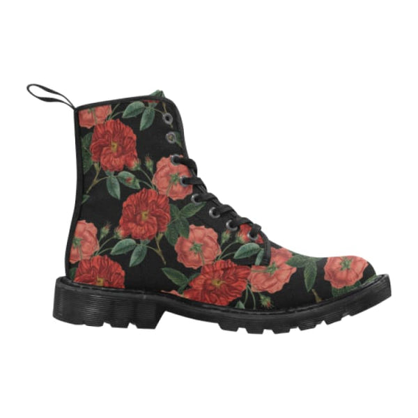 Red Roses Womens Lace-Up Combat Boots - Black / 6.5 - Boots