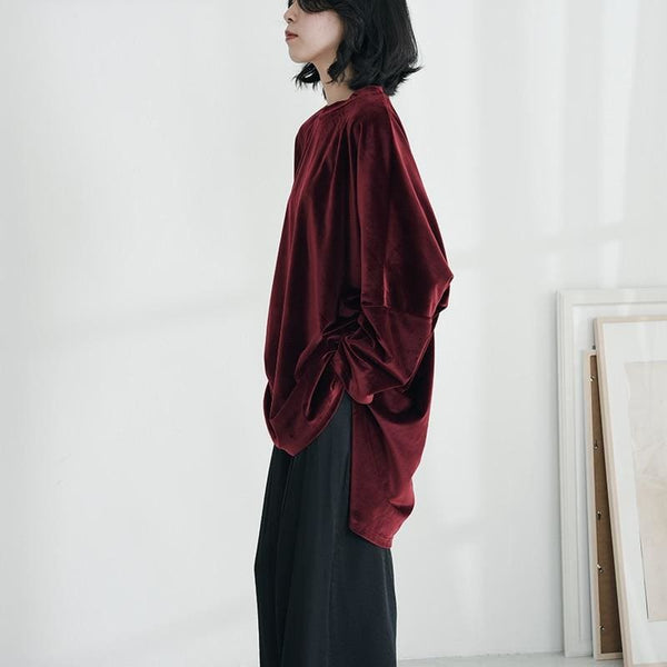 Red Velvet Asymmetric Oversize Sweater - Sweater