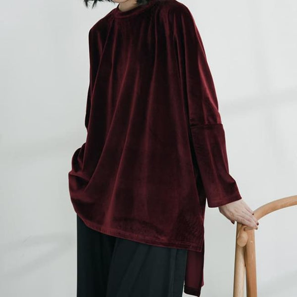 Red Velvet Asymmetric Oversize Sweater - Burgundy / One Size - Sweater