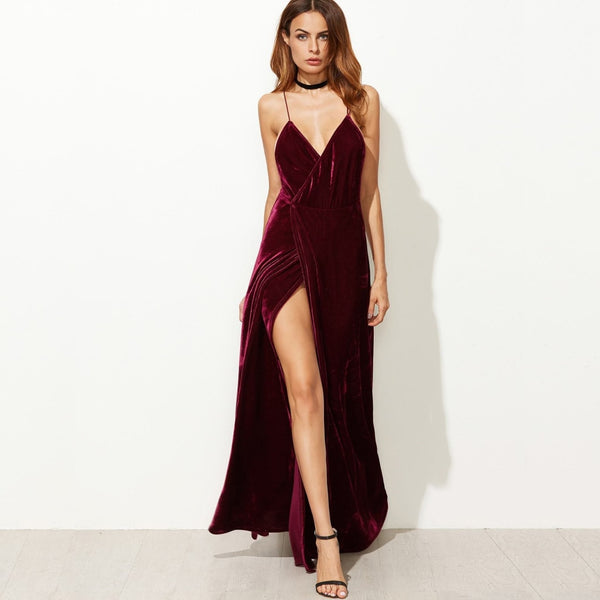 red velvet strappy backless long wrap dress - XS - Dress