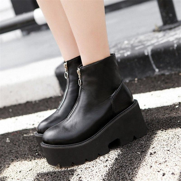 Ring Zip-Front Ultra Platform Ankle Boots - Boots
