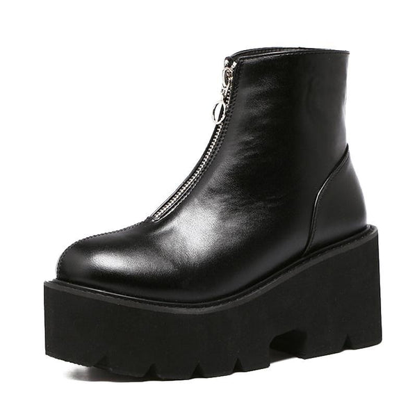Ring Zip-Front Ultra Platform Ankle Boots - Black / 10 - Boots