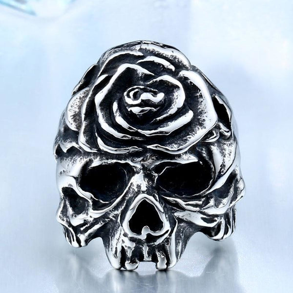 rose skull stainless steel biker ring - Steel / 11 - Ring