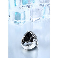 rose skull stainless steel biker ring - Ring