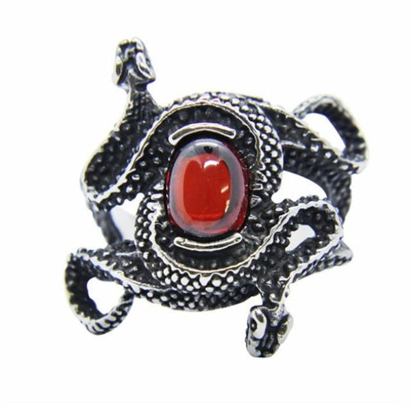 ruby serpents steel biker ring - Steel / 8 - Ring