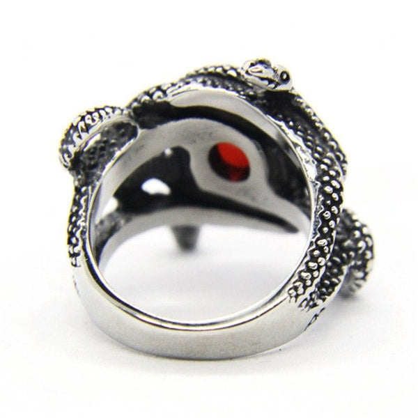 ruby serpents steel biker ring - Ring
